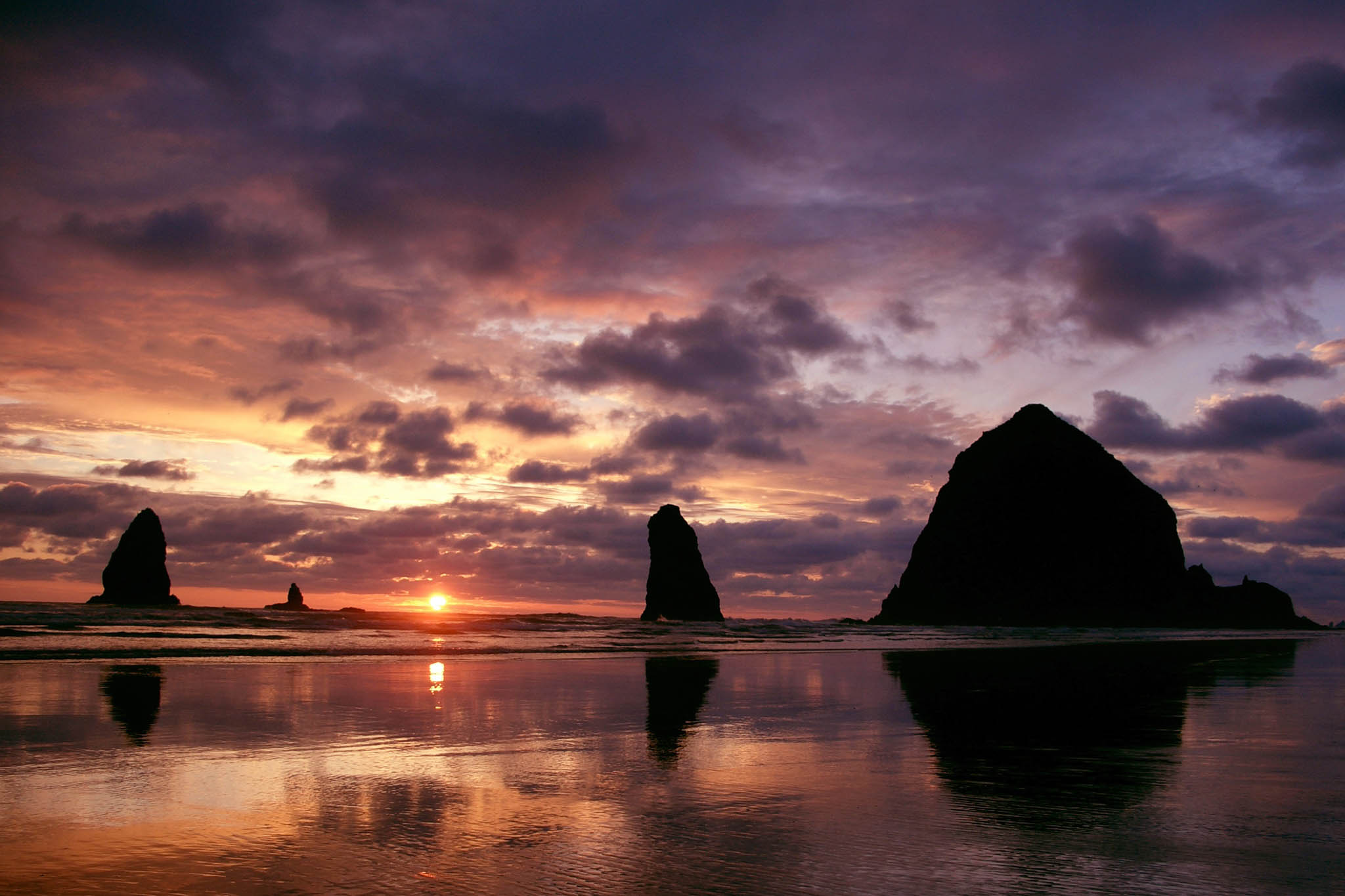 Winter sunset at Haystack Rock