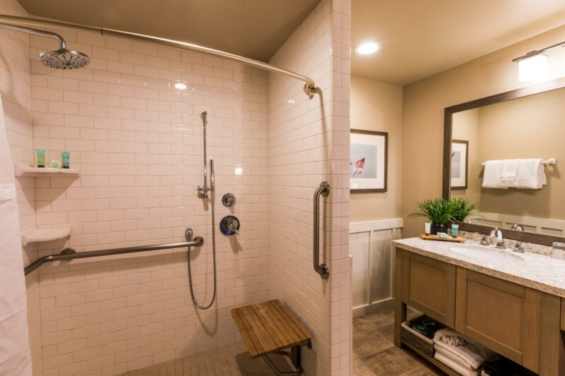 ADA shower in the Oceanfront Queen Studio