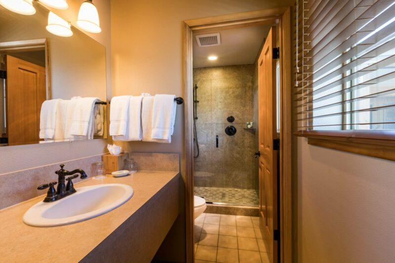 A stunning spa inspired bathroom in Cannon Beach
