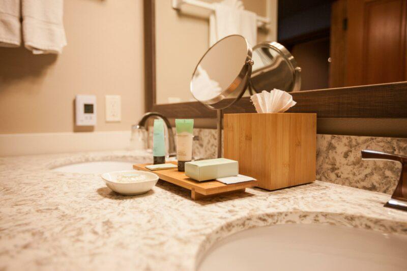 Bathroom details in our Premier Oceanfront King Studio Second Floor with Sofa Sleeper
