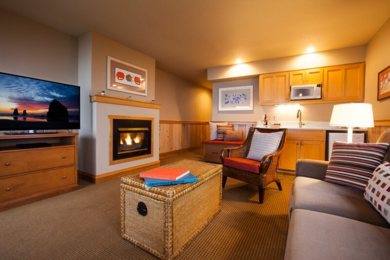 Ocean Lodge room with a cozy fireplace
